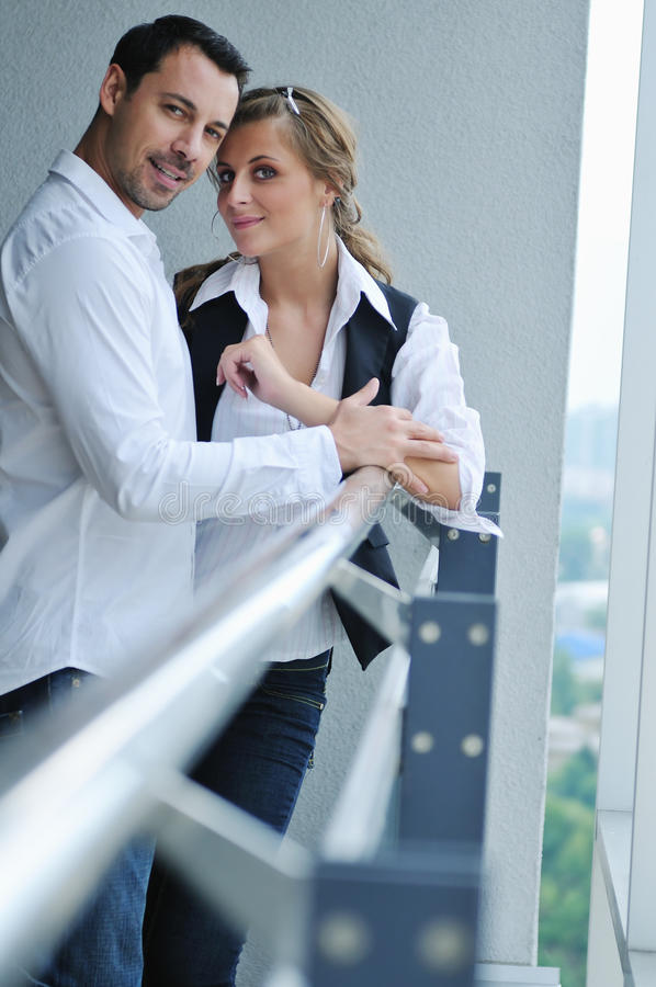 Download Romantic Happpy Couple On Balcony Stock Photo - Image of cheerful, girlfriend: 10977744