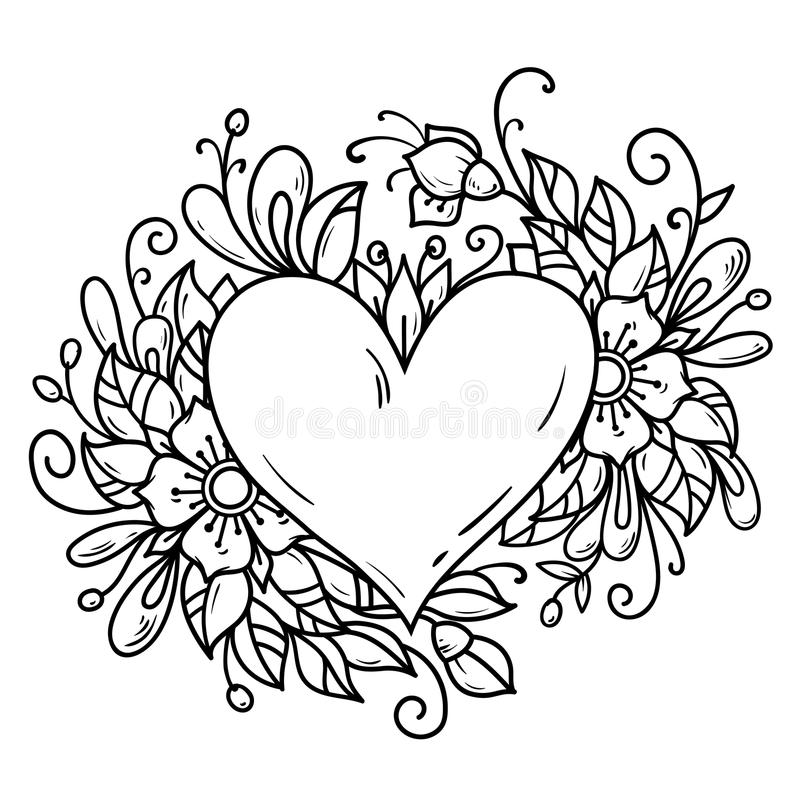 Romantic heart decorated flowers, buds, leaves. Heart decorated floral composition. Black and white illustration vector illustration