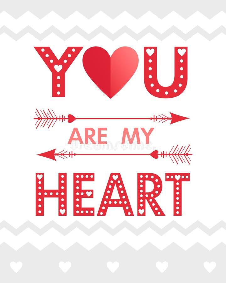 Romantic heart illustration royalty free illustration