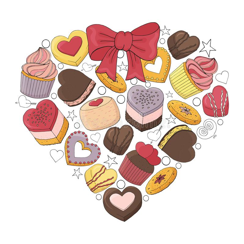 Romantic heart is made of different desserts,. Cakes, sweets and food for Valentines day. Hand drawn. Vector illustration royalty free illustration