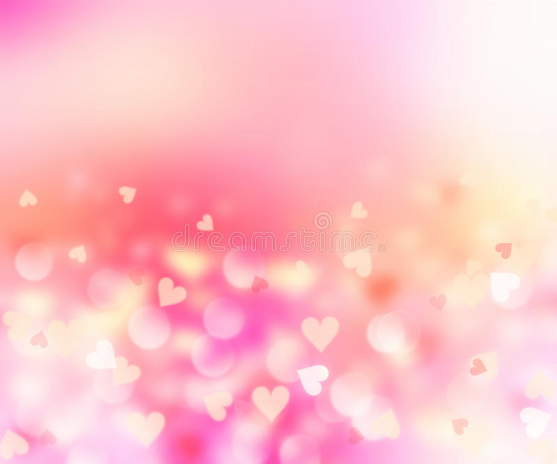 Romantic hearts blurred on pink background.Valentine card. stock illustration
