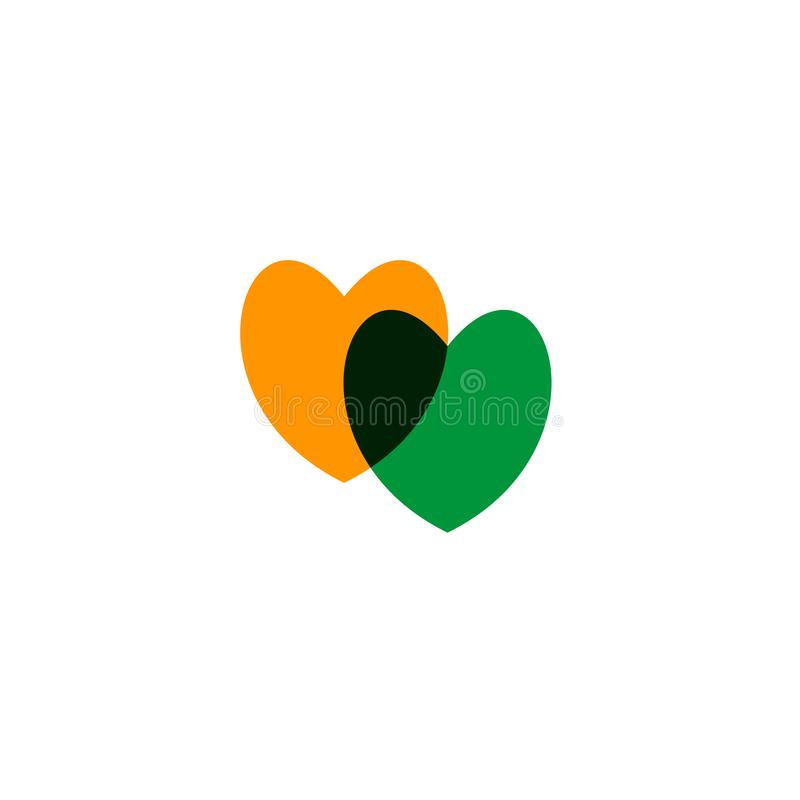 Hearts icon yellow and green on white. Romantic hearts icon green and yellow. Heart icon isoleated on white background. Love symbol. Happy valentines day and royalty free illustration