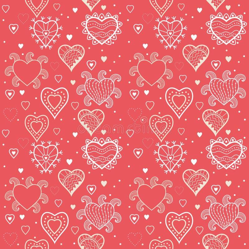 Romantic hearts seamless background. Hearts seamless pattern, romantic hearts seamless background stock illustration