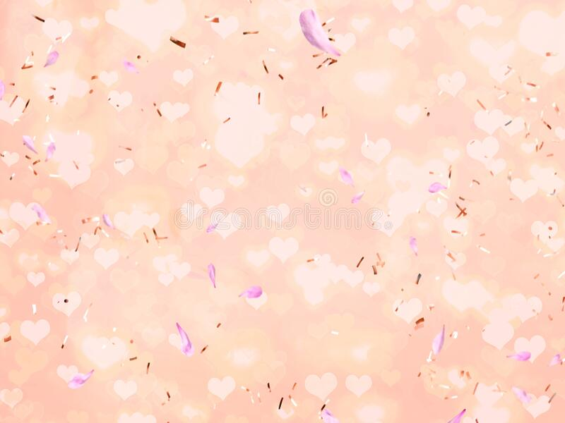 Romantic holiday blur background with golden elements ,flying hearts , petal copy space pink pastel  yellow light colored banner f. Or Christmas wedding stock image
