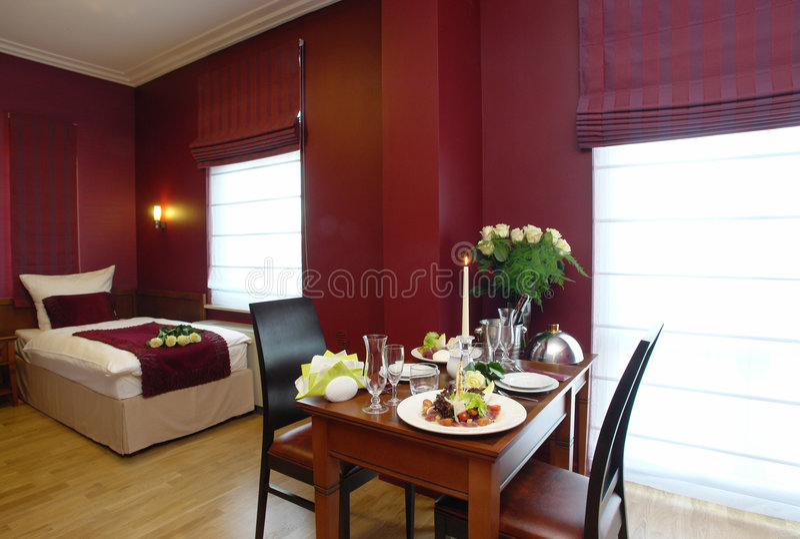 Romantic hotel room royalty free stock image