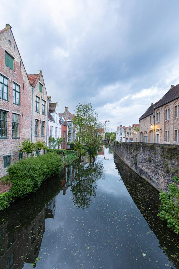 Romantic houses along the river canal in the old city of Europe stock photos