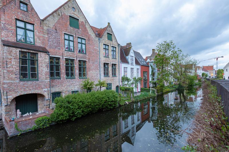 Romantic houses along the river canal in the old city of Europe royalty free stock images