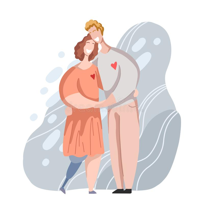Romantic hug couple ordinary man and woman with leg prosthesis. Relationships and love of various people. Family. In modern flat style. Vector element for cards vector illustration