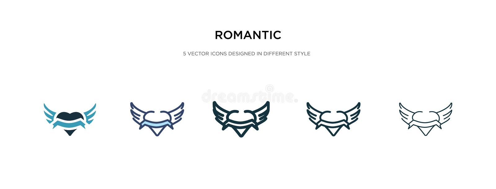 Romantic icon in different style vector illustration. two colored and black romantic vector icons designed in filled, outline, stock illustration