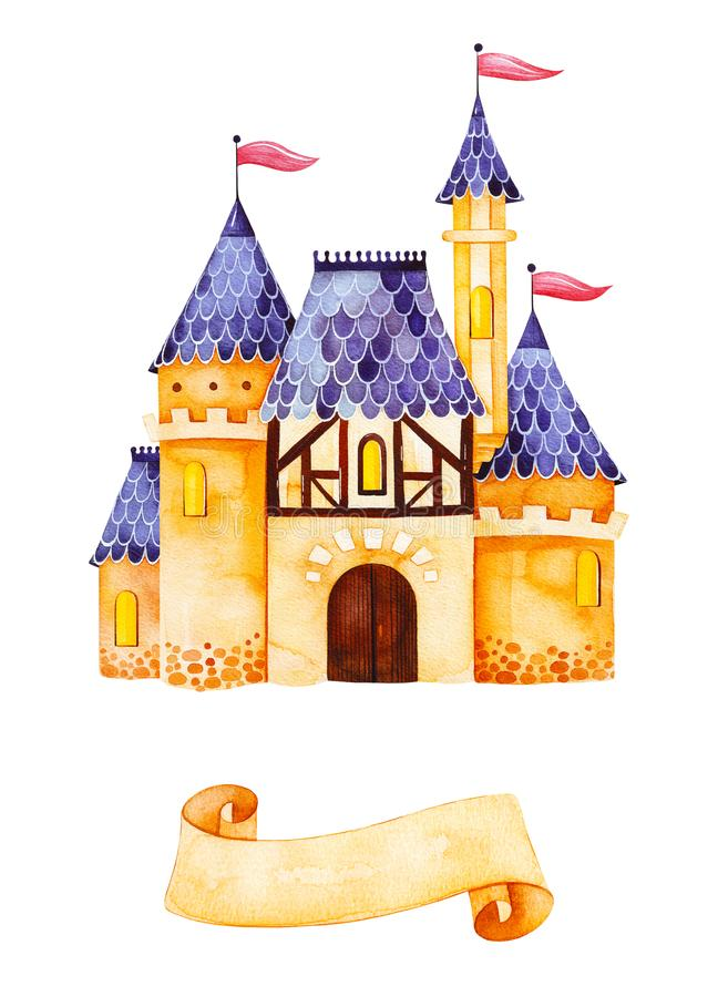 Romantic illustration with princess castle and ribbon for your unique text.Fantasy castle isolated stock illustration