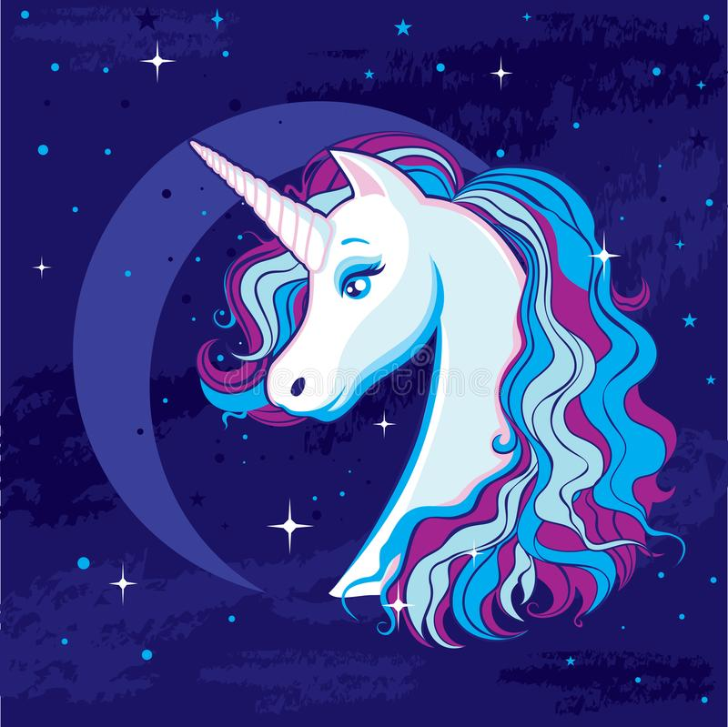 Romantic illustration with a unicorn on the background of the moon and the starry sky. royalty free illustration