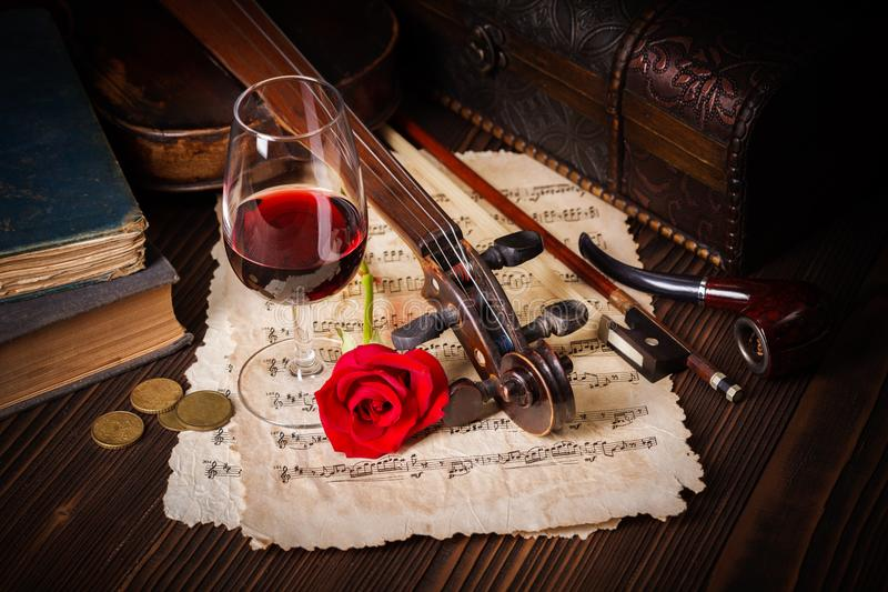 Romantic image detail with violin scroll royalty free stock photos