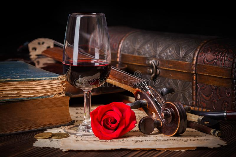 Romantic image detail with violin scroll royalty free stock photo
