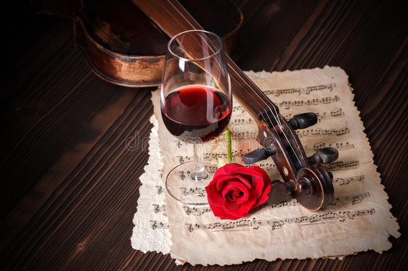 Romantic image detail with violin scroll stock photography