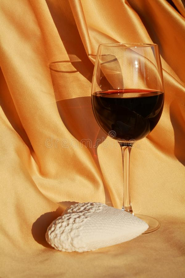 Romantic image, heart and red wine royalty free stock photography