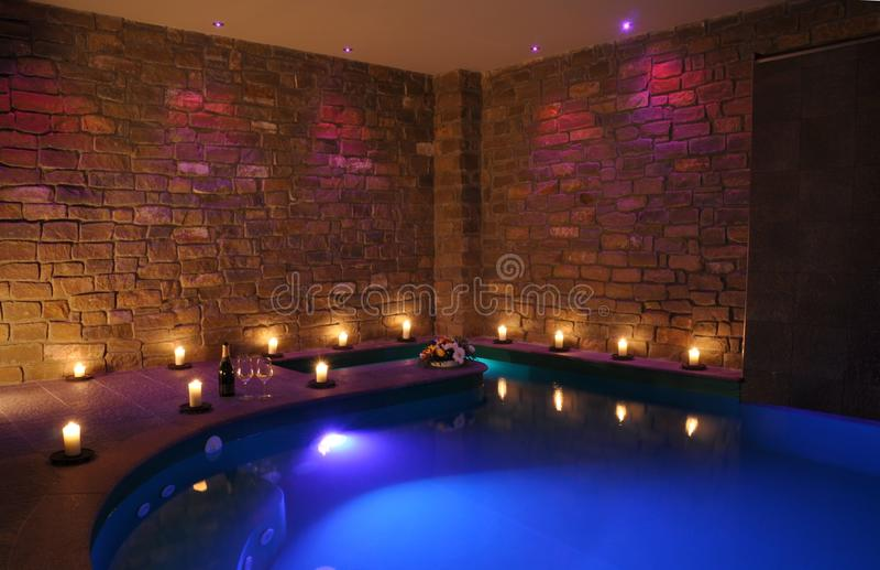 Romantic indoor spa pool stock photos