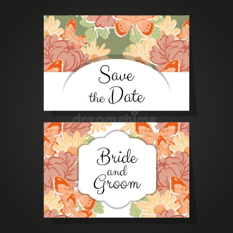 Romantic invitation. For wedding, marriage, bridal, birthday, Valentine's day royalty free illustration