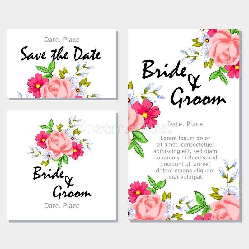 Romantic invitation. For wedding, marriage, bridal, birthday, Valentine's day vector illustration