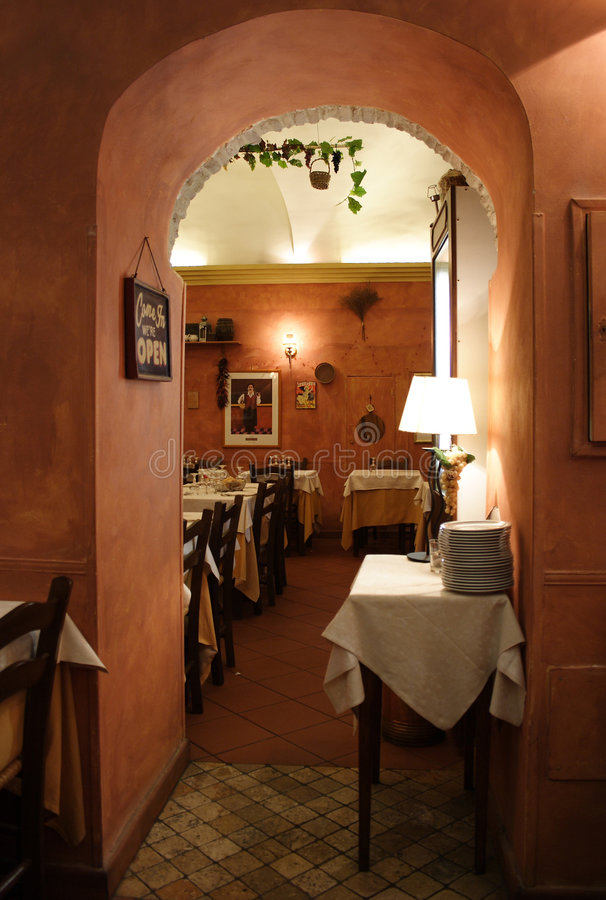 Romantic italian restaurant royalty free stock image