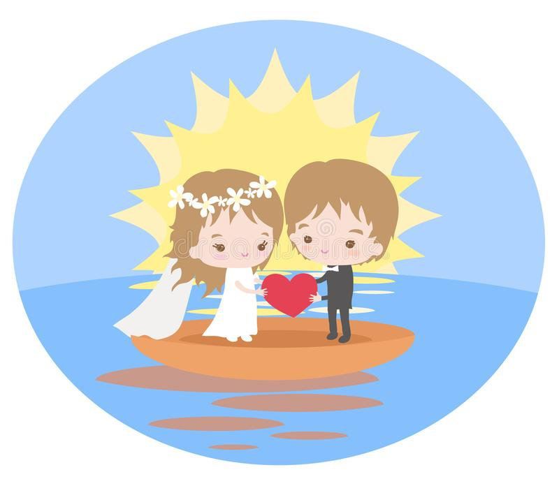Romantic journey of newlyweds on a boat at dawn. Vector illustration vector illustration
