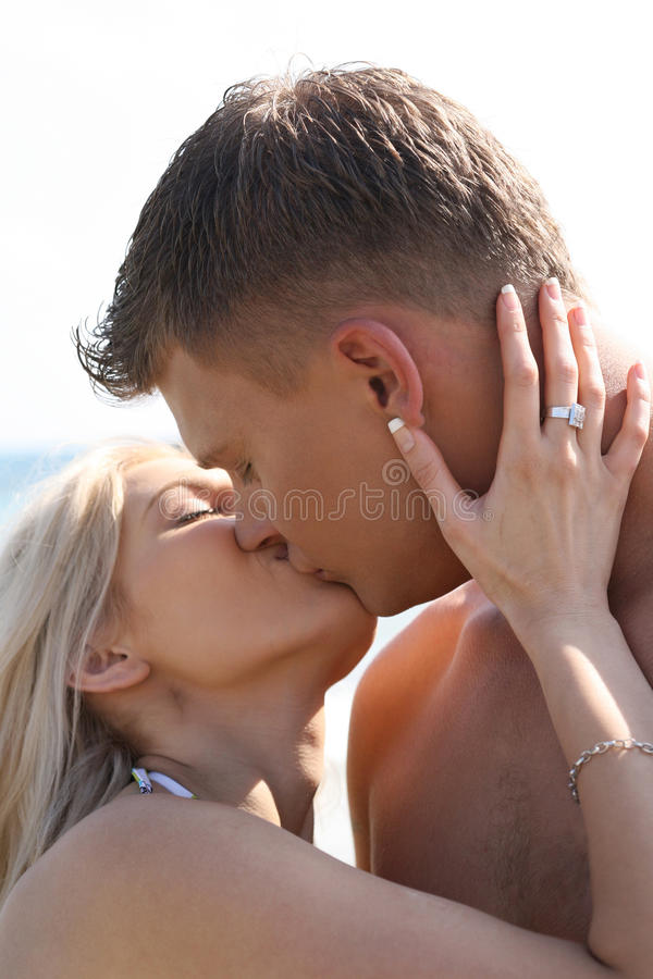 Download Romantic kiss stock photo. Image of male, coast, charming - 10450244