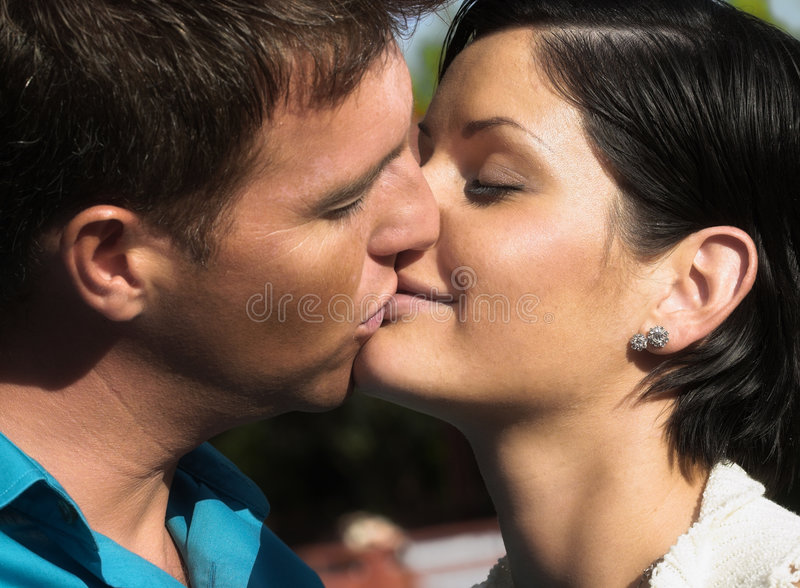 Romantic kiss stock photos