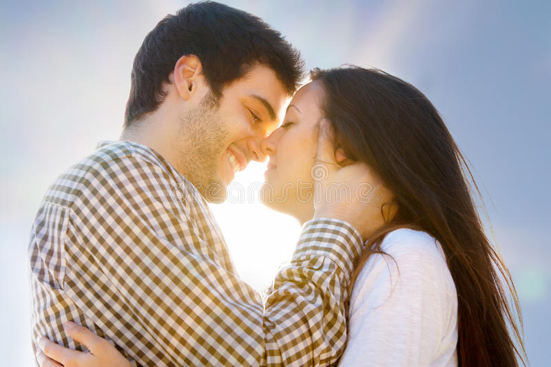 Romantic kiss stock image