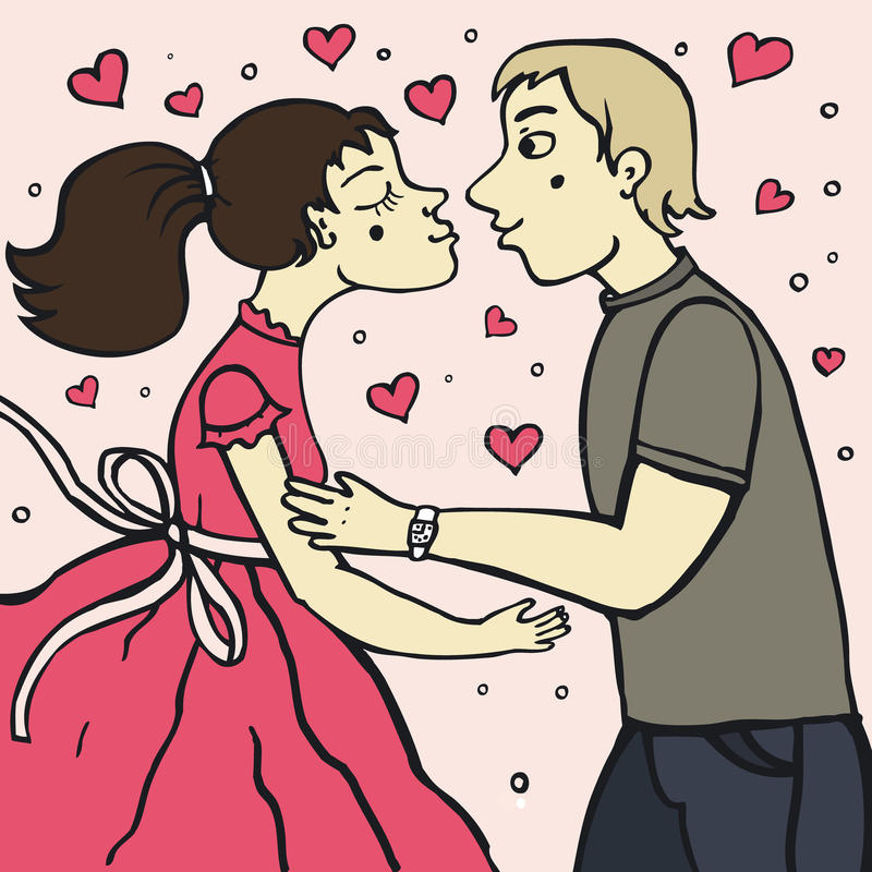 Romantic kiss. Between two young lovers royalty free illustration
