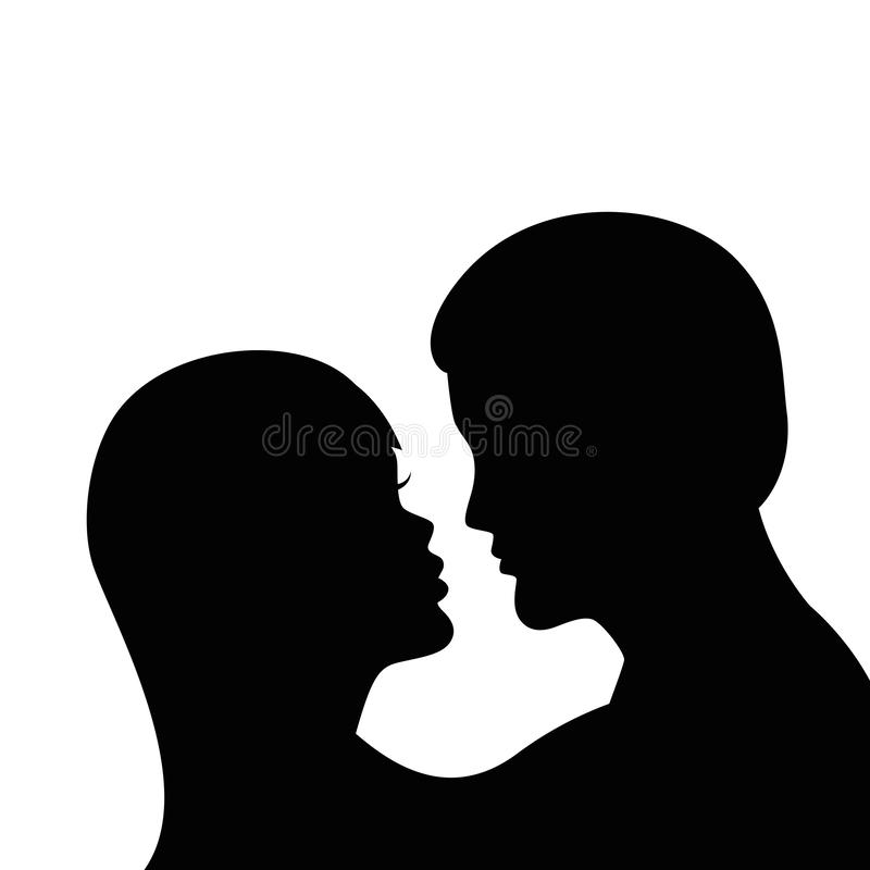 Romantic kiss silhouette boy and girl. Isolated on white background vector illustration EPS10 vector illustration