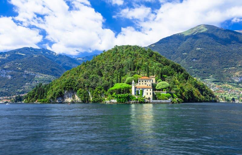 Romantic Lago di Como, chalet del Balbianello foto de archivo libre de regalías