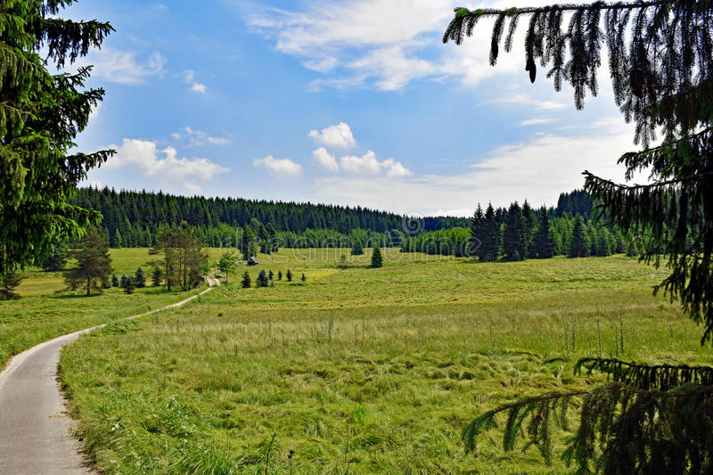Romantic landscape in the Schwarzwassertal in the Erzgebirge in Saxony / Germany royalty free stock photography