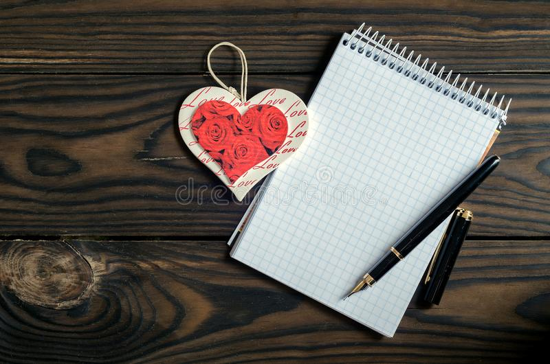 Romantic letter for February 14. View from above royalty free stock images