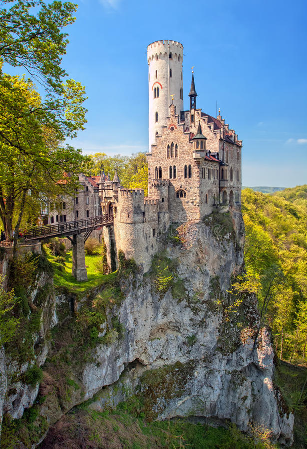 Romantic Lichtenstein Castle on the rock in Black Forest, German stock photography