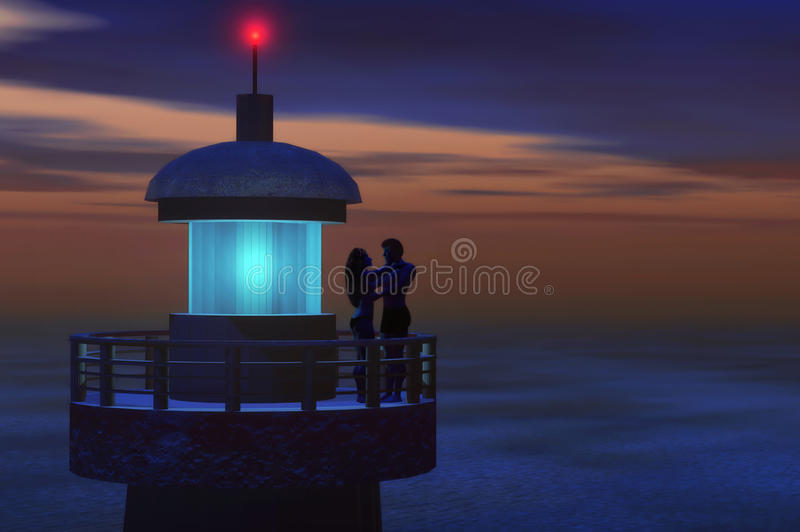 Romantic lighthouse. Lovers on lighthouse have a romantic moment stock illustration