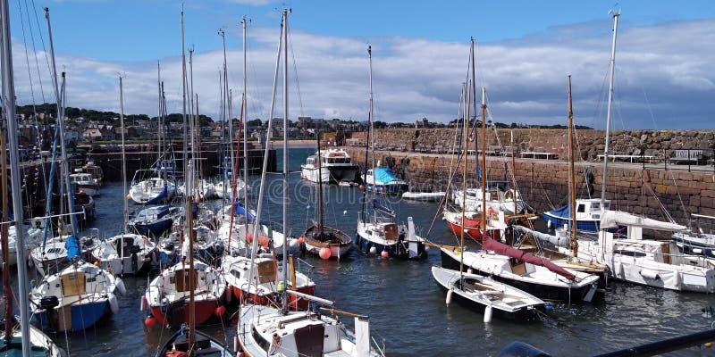 A romantic little harbor in Scotland stock photo