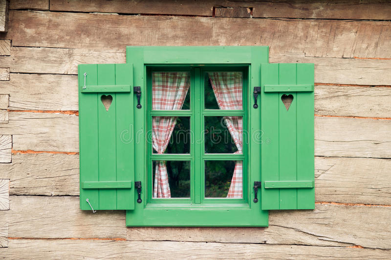 Romantic log cabin stock image image of frame shutter for Log cabin window