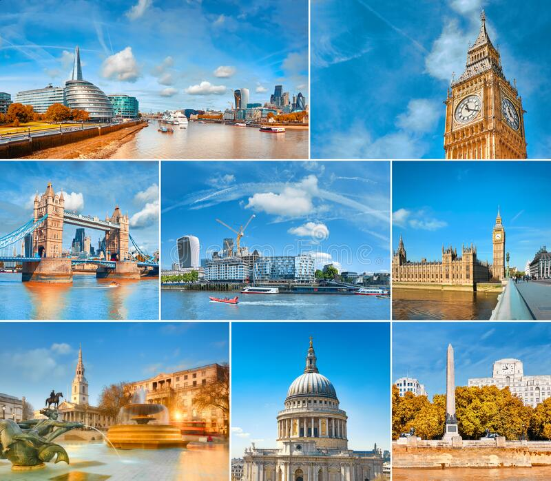 Romantic London, set of eight photographs of main landmarks stock photos