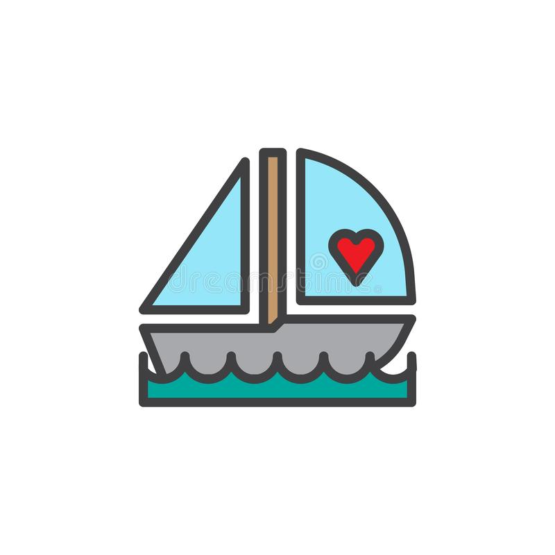 Romantic love boat filled outline icon royalty free illustration
