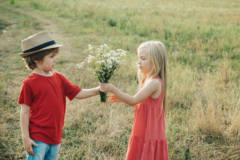 Romantic and love. Childcare. Valentine. The concept of child friendship and kindness. Happy Valentines day. Valentines. Day card. First love. Childhood stock image