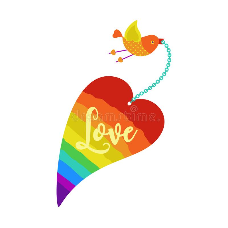Love in heart. Romantic love poster. Rainbow heart silhouette. Freehand drawn cute cartoon style. Vintage greeting card template for Valentine day, lovers stock illustration
