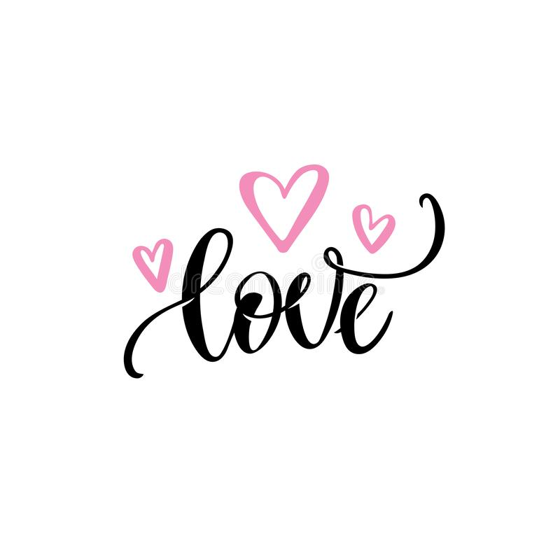 Romantic love text, pink hearts Vector Calligraphic hand lettering. Valentines day wedding greeting card design template vector illustration