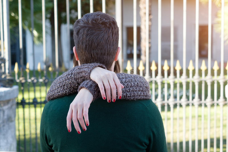 Romantic lovers couple kissing stock photography