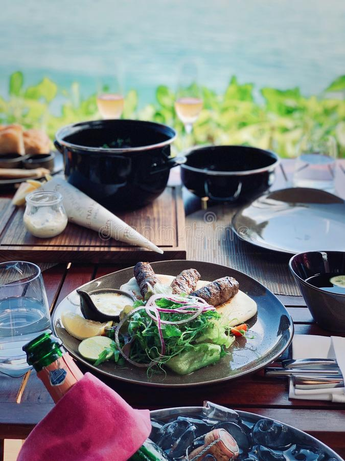 Lunch by sea royalty free stock photography