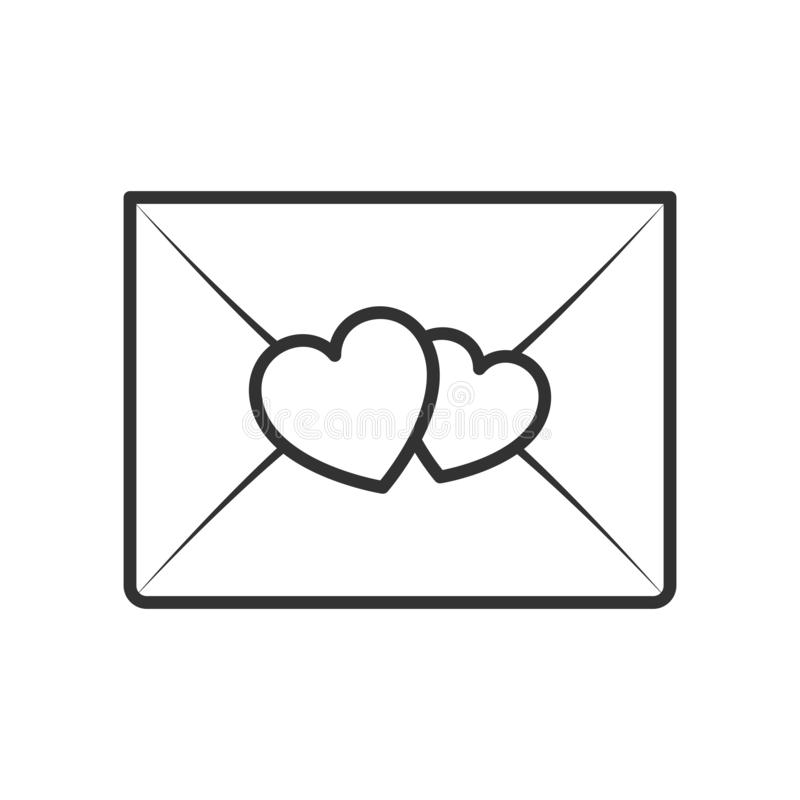 Romantic Mail Envelope Outline Flat Icon. With hearts, isolated on white background. Eps file available vector illustration