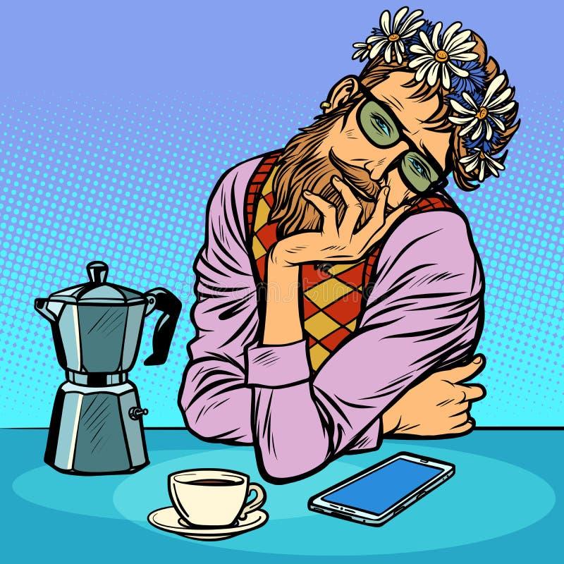 A romantic man in love, hipsters in flower wreath. Pop art retro vector illustration kitsch vintage vector illustration