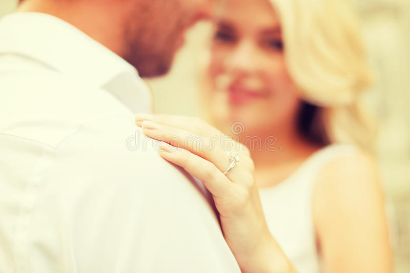 Romantic man proposing to beautiful woman royalty free stock images