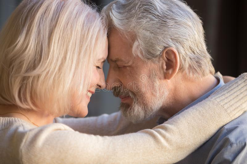 Romantic mature couple in love, wife and husband touching foreheads royalty free stock images
