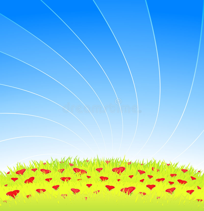 Romantic meadow full of heart flowers. Vector illustration of a beautiful romantic meadow with blue lined sky and detailed grass full of lovely heart flowers vector illustration