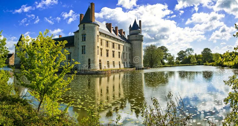 Romantic medieval castles of Loire valley - beautiful Le Plessis-Bourre, France. Impressive old castle,Plessis Bourre,Loire valley,France stock photos