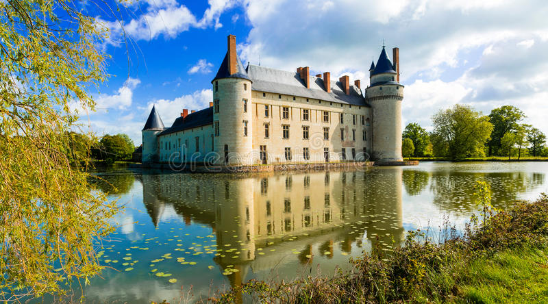 Romantic medieval castles of Loire valley - beautiful Le Plessis Bourre. France. Incrdible nature landscape in Plessis Bourre castle,Loire valley,France royalty free stock images